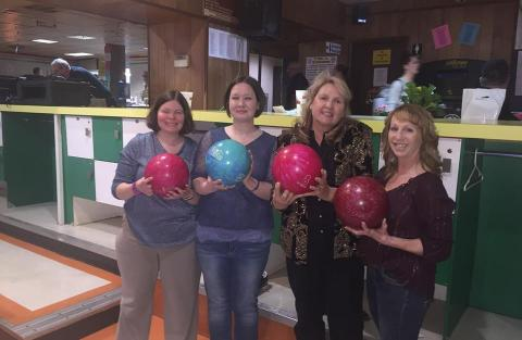 Jennie, Kathy and Julie at Big Brothers and Big Sisters Bowl for Kids Sake fundraiser.